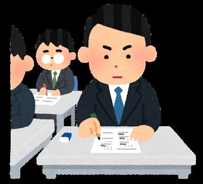 試験を受ける会社員