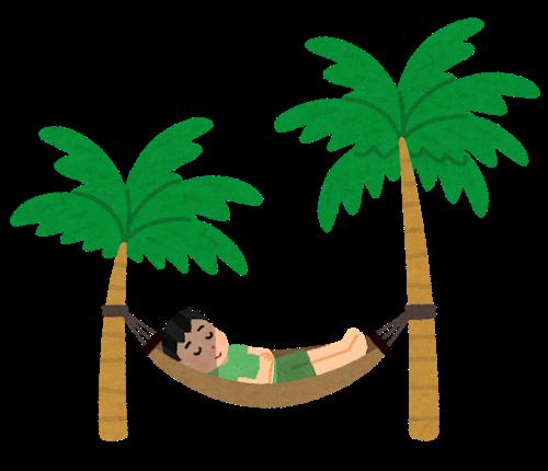 ヤシの木につるしたハンモックで快適に眠る男性