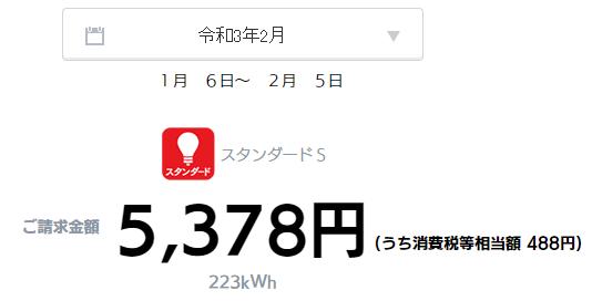 2021年2月分(2021年1月6日~2021年2月5日)の電気代(東京電力(TEPCO))