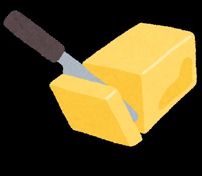 バターをナイフで切っている様子(いらすとや)